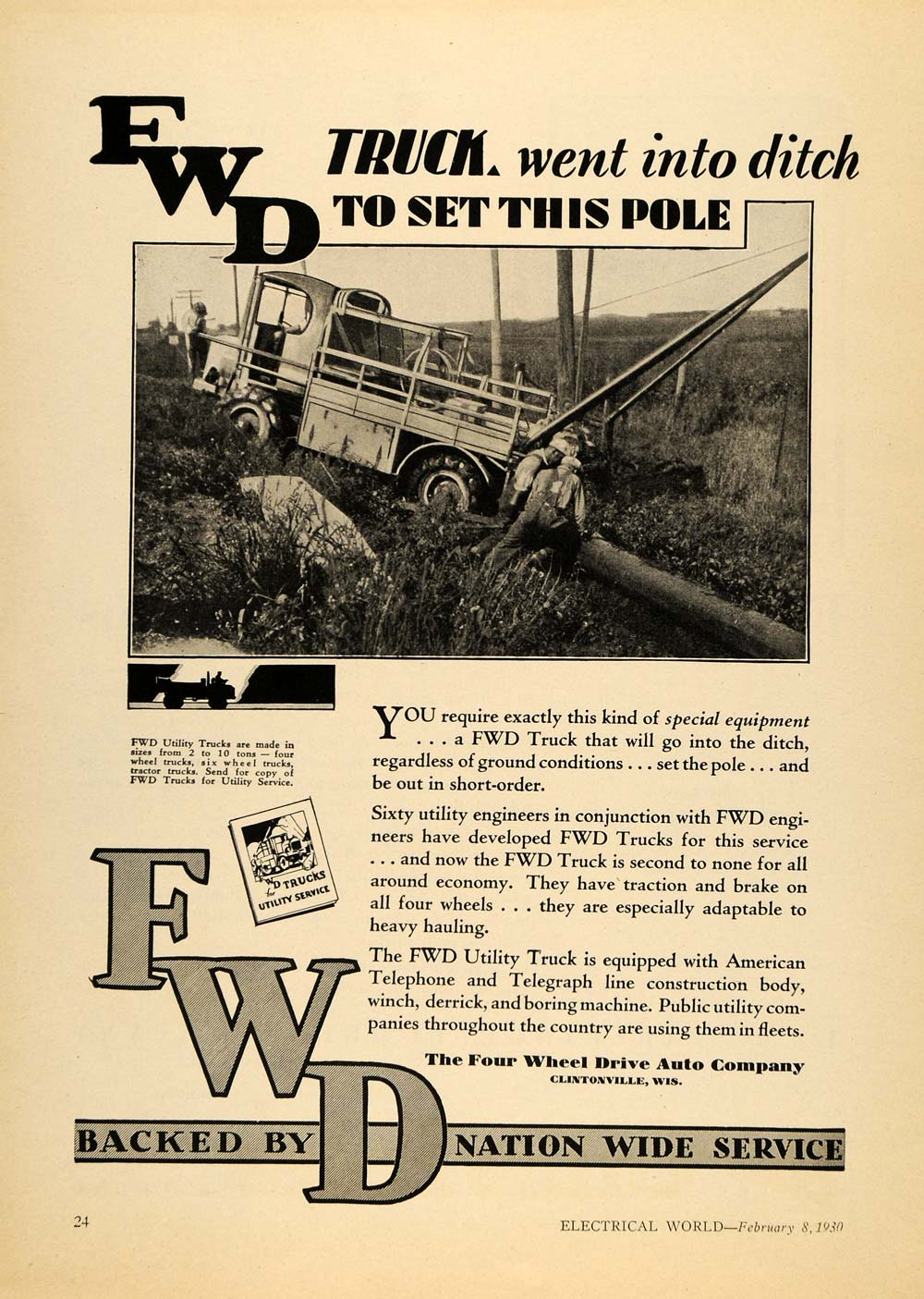 1930 Ad Four Wheel Drive Auto Co. FWD Industrial Truck - ORIGINAL ELC1