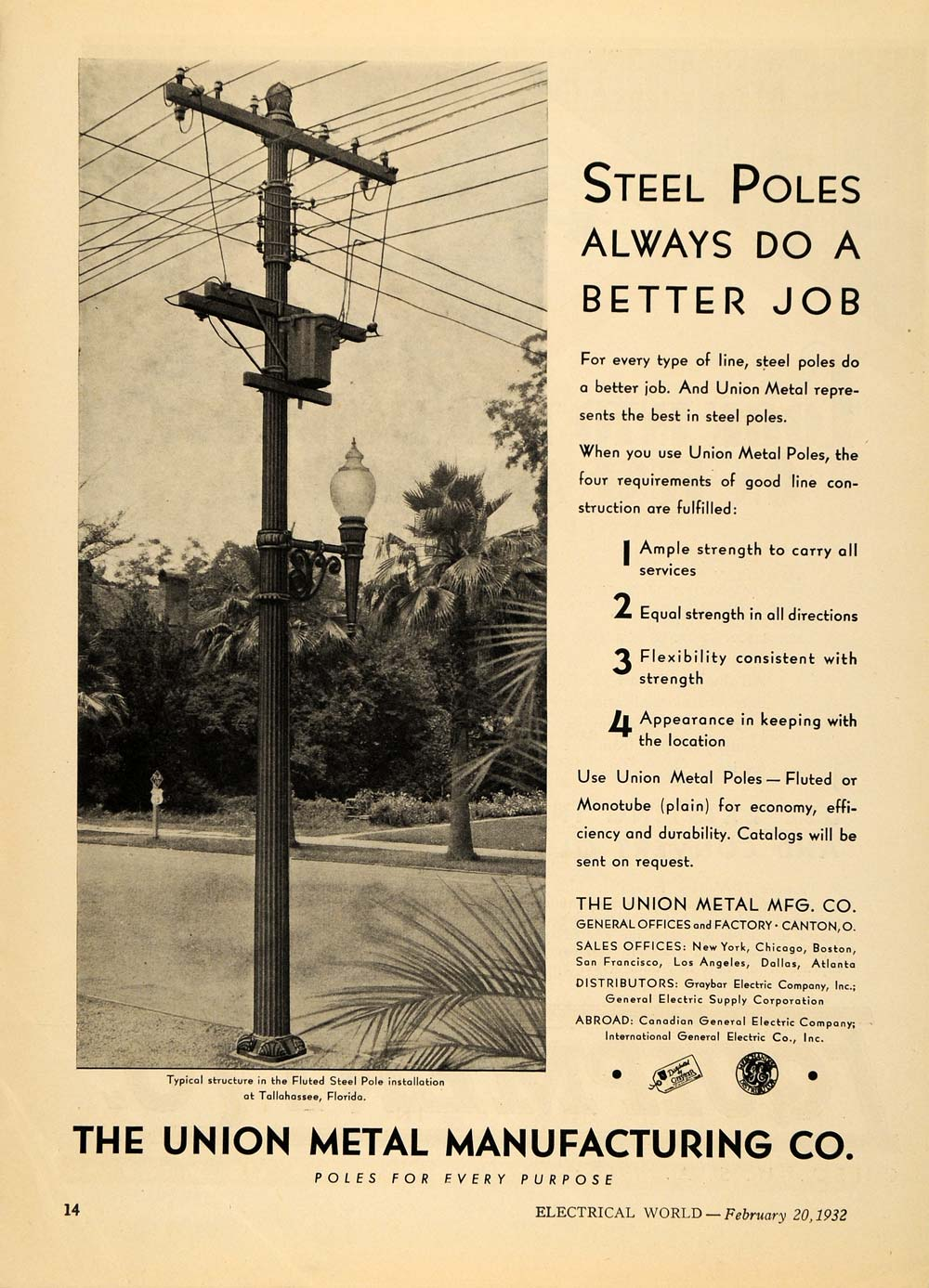 1932 Ad Union Metal Manufacturing City Poles Florida - ORIGINAL ADVERTISING ELC1