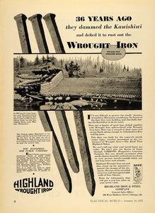 1932 Ad Highland Iron & Steel Co. Kawaschachong Falls - ORIGINAL ELC1