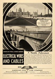1932 Ad American Wire Soldier Sailor Memorial Bridge - ORIGINAL ADVERTISING ELC1