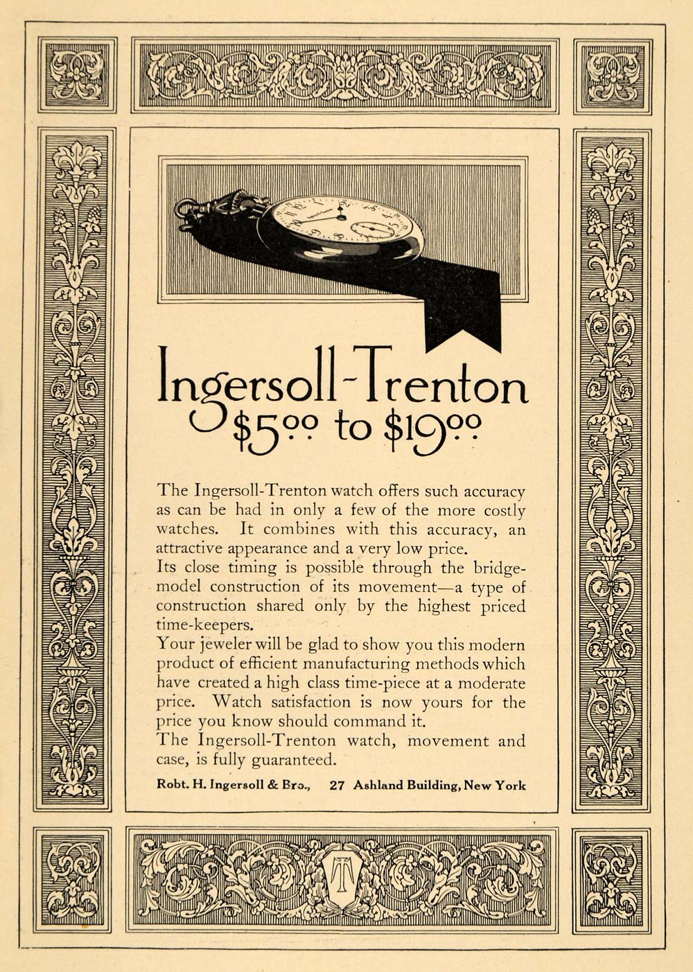 1911 Ad Robert Ingersoll Trenton Pocket Watch Jewelry - ORIGINAL ADVERTISING EM1