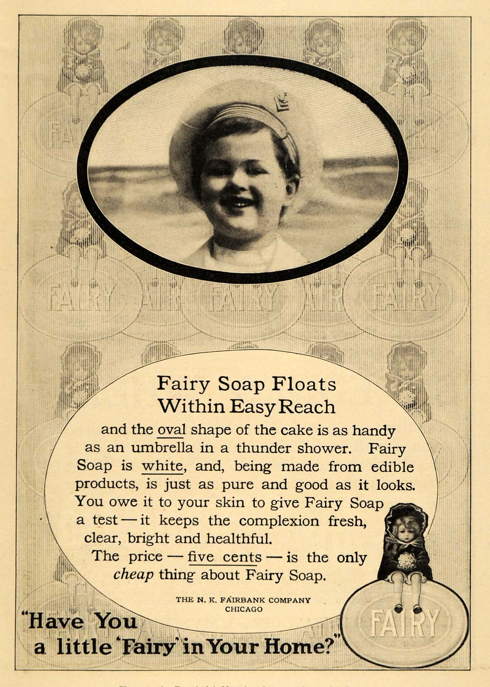 1911 Ad Nathaniel Fairbank Fairy Soap Procter Gamble - ORIGINAL ADVERTISING EM1