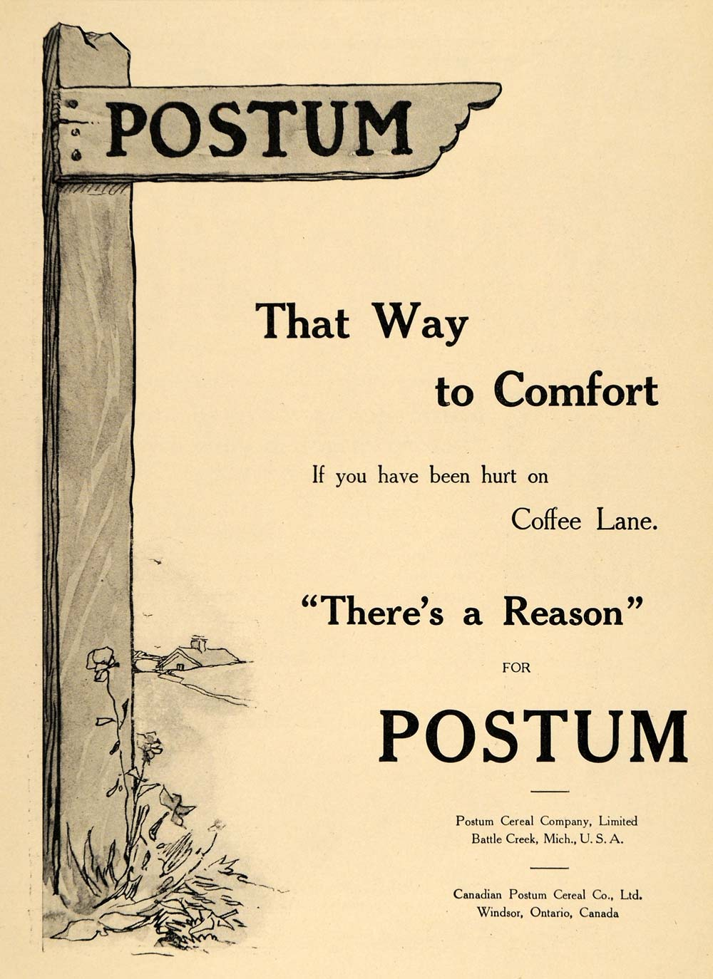 1911 Ad Coffee Alternative Postum Cereal Post Drink - ORIGINAL ADVERTISING EM1