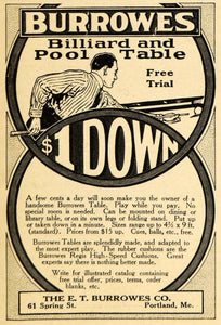 1915 Ad E T Burrowes Billiard Pool Table Portland Maine - ORIGINAL EM1