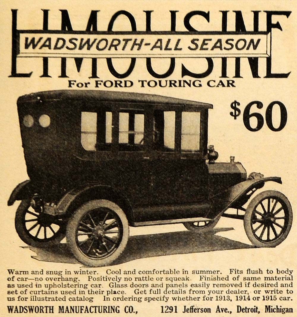 1915 Ad Limousine Wadsworth All Season Ford Touring Car - ORIGINAL EM1