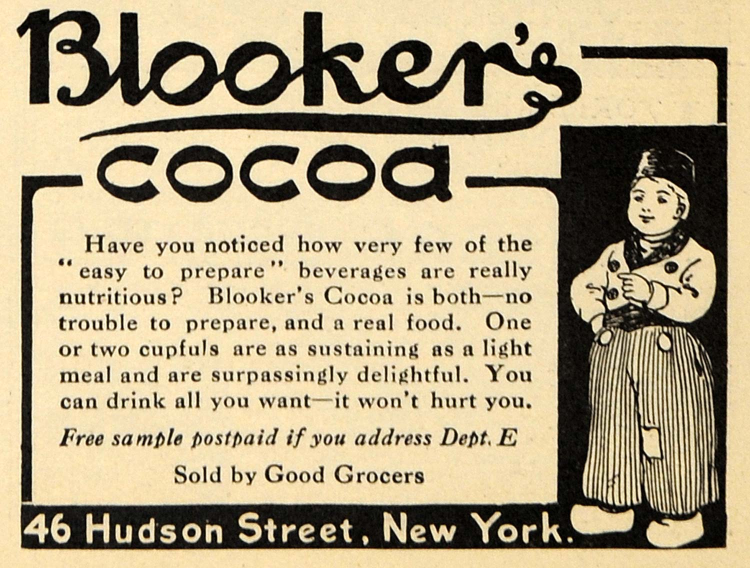 1912 Ad Blookers Cocoa Franco American Food Company - ORIGINAL ADVERTISING EM1