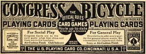 1915 Ad Games Congress Bicycle US Playing Card Company - ORIGINAL EM1