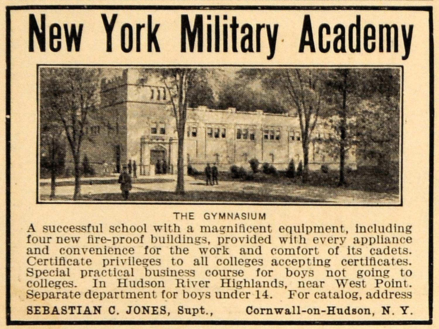 1911 Ad New York Military Academy Boys Gymnasium School - ORIGINAL EM1