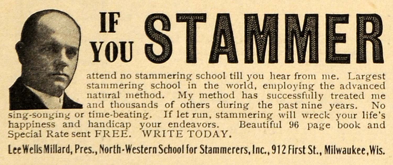 1913 Ad North-Western School Stammering Milwaukee WI - ORIGINAL ADVERTISING EM1
