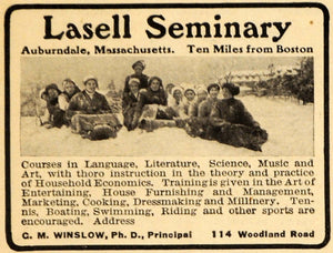 1913 Ad Lasell Seminary Training School Women Winter - ORIGINAL ADVERTISING EM1
