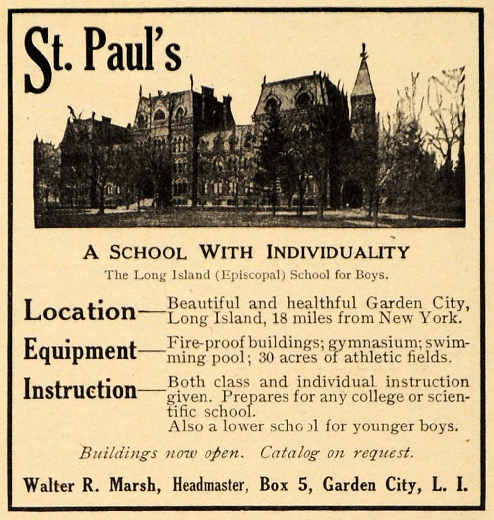 1911 Ad St. Paul's School Boys Educational Institute - ORIGINAL ADVERTISING EM1