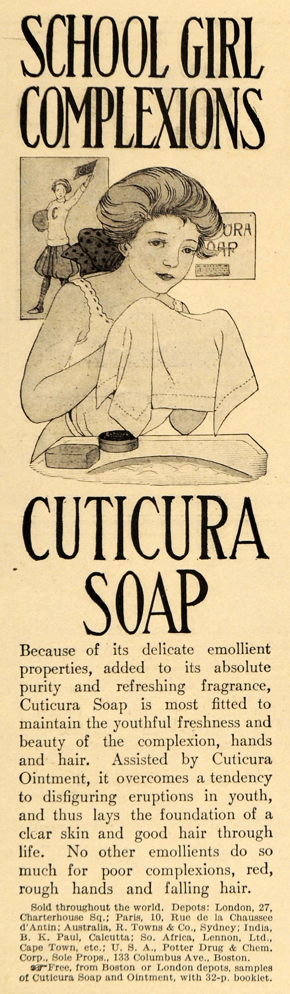 1911 Ad School Girl Complexion Cuticura Soap Hands Hair - ORIGINAL EM1