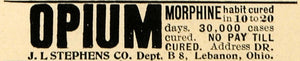 1901 Ad Dr. J. L. Stephen Opium Morphine Addiction Cure - ORIGINAL EM2