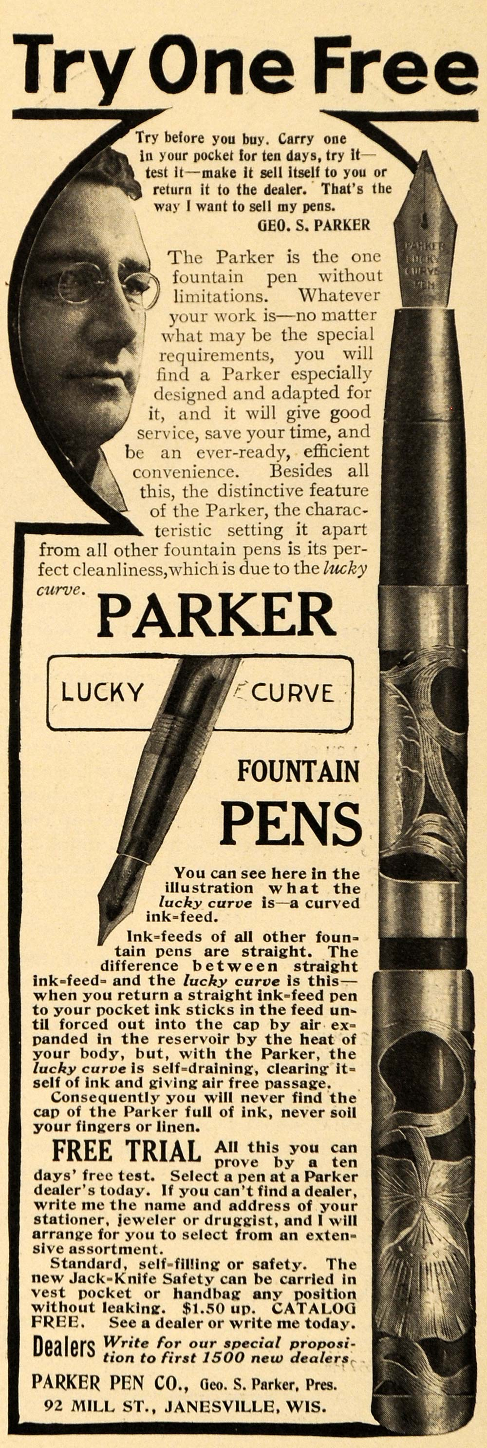 1909 Ad Parker Co. Fountain Pens Ink Janesville WI - ORIGINAL ADVERTISING EM2