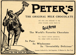 1908 Ad GalaPeter Milk Chocolate Candy Lamont Corliss - ORIGINAL ADVERTISING EM2