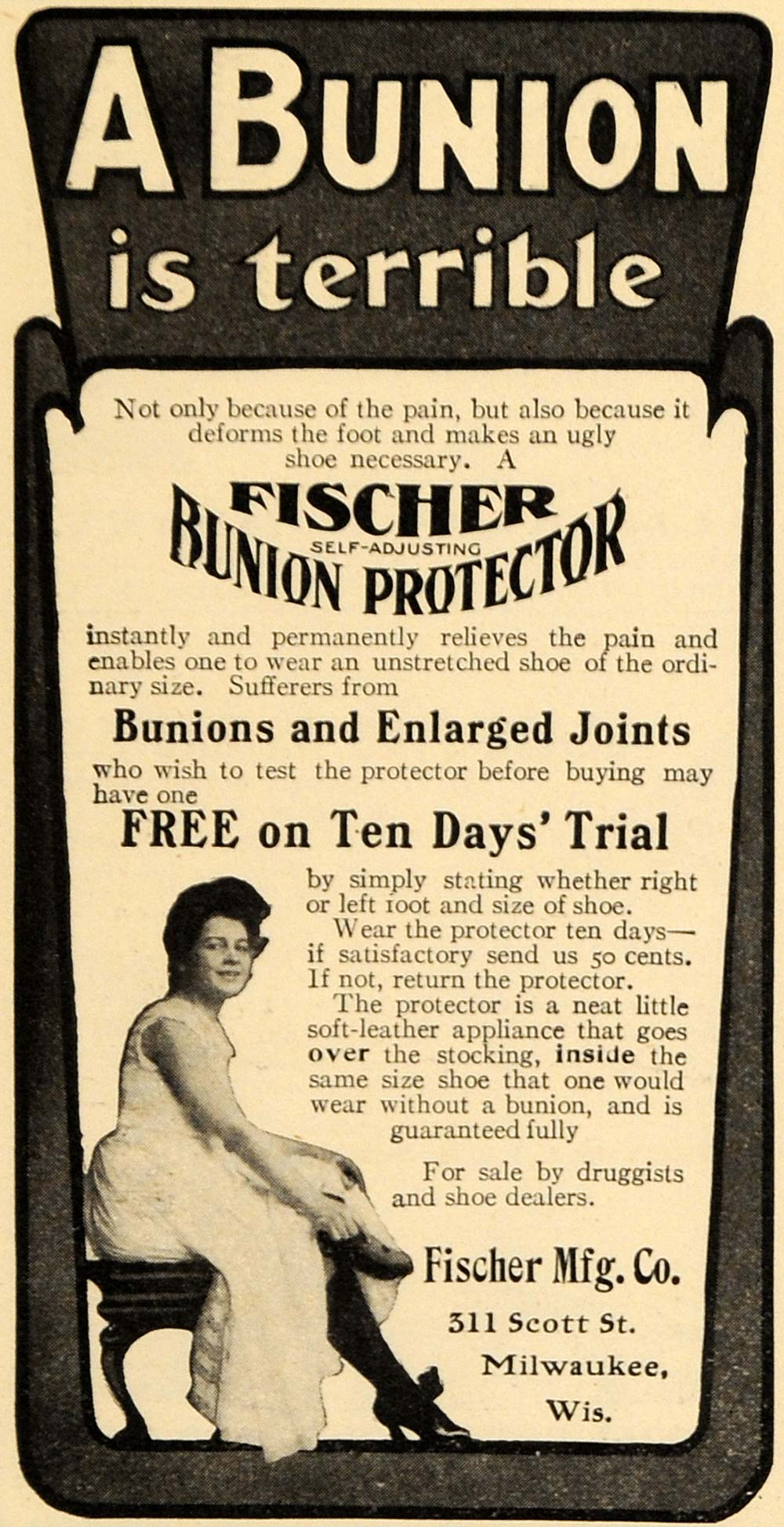 1905 Ad Fischer Bunion & Enlarged Joints Protector WI - ORIGINAL ADVERTISING EM2