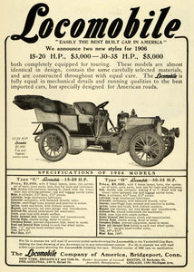 1906 Ad Locomobile Company America Model E Automobile Vintage Motor Vehicles EM2