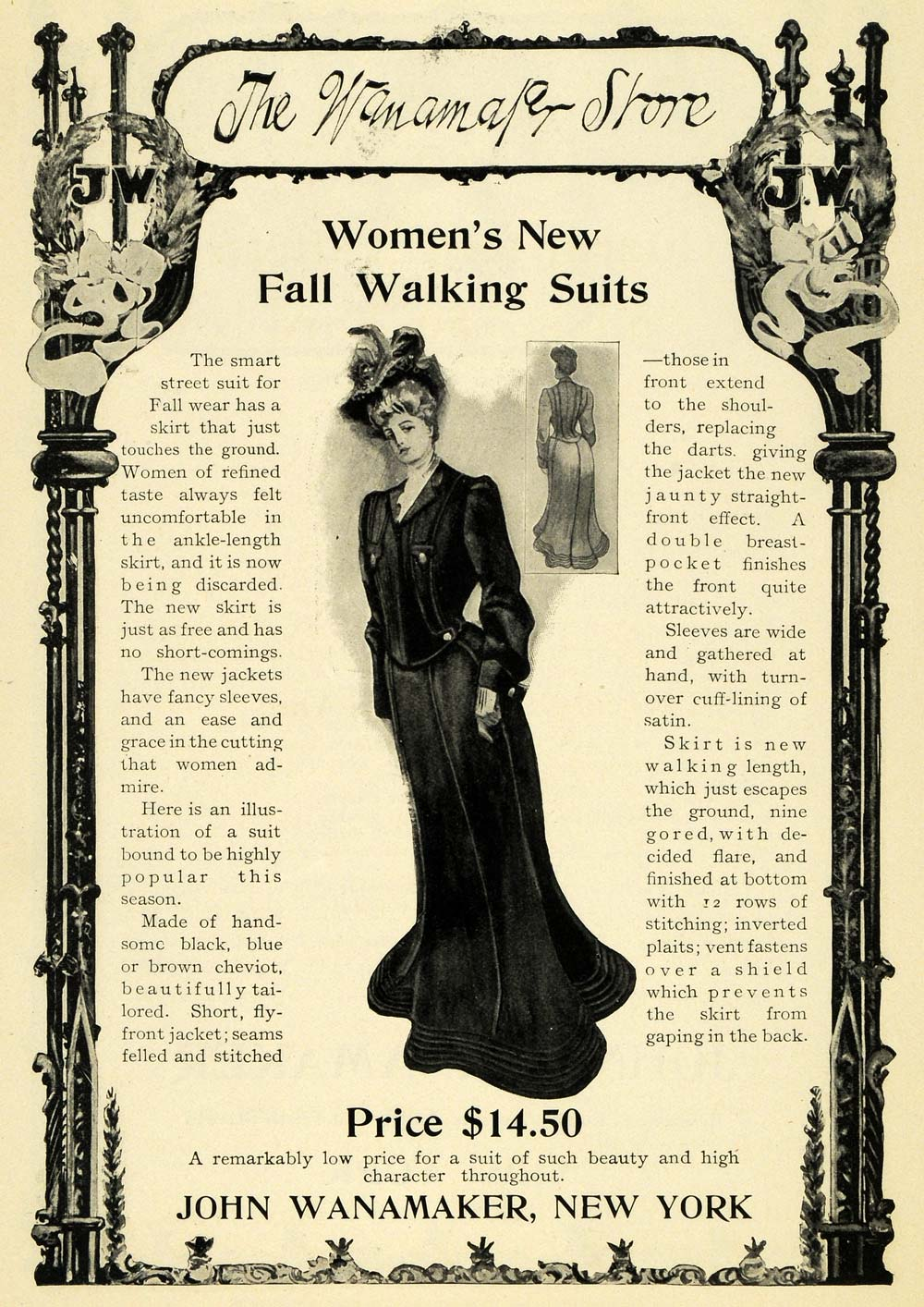 1902 Ad Wanamaker Store Womens Fall Walking Suits Vintage Clothing Fashion EM2