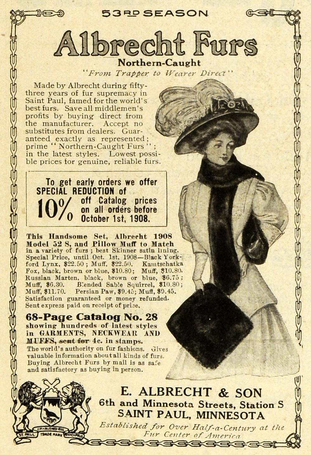 1908 Ad Albrecht Fashion Northern Caught Furs Clothing Accessories Trappers EM2