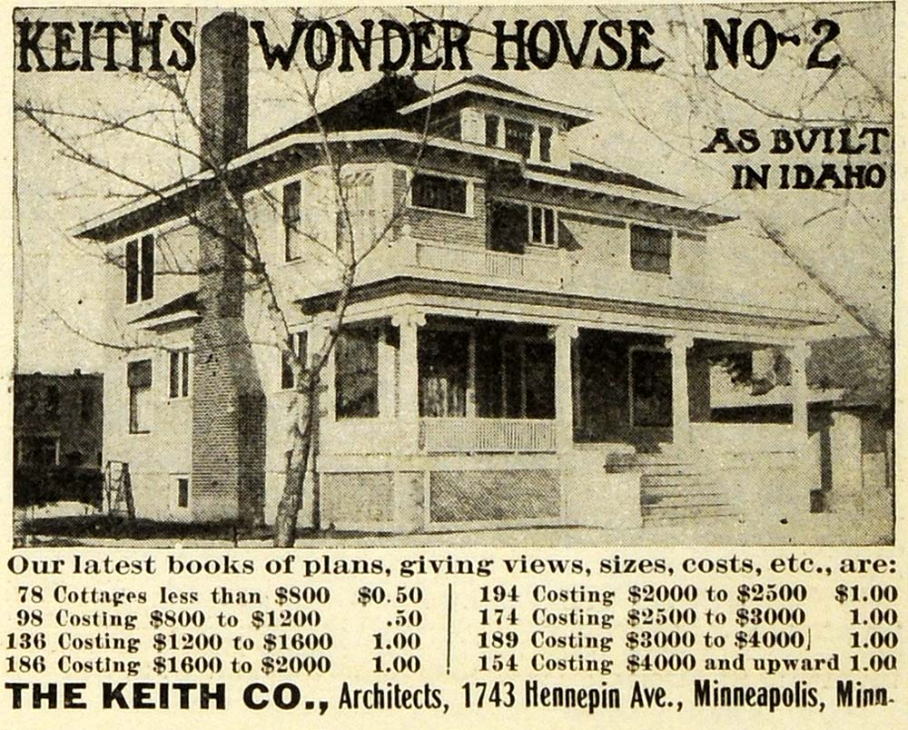 1908 Ad Keith Wonder House Architecture Home Construction Pricing EM2
