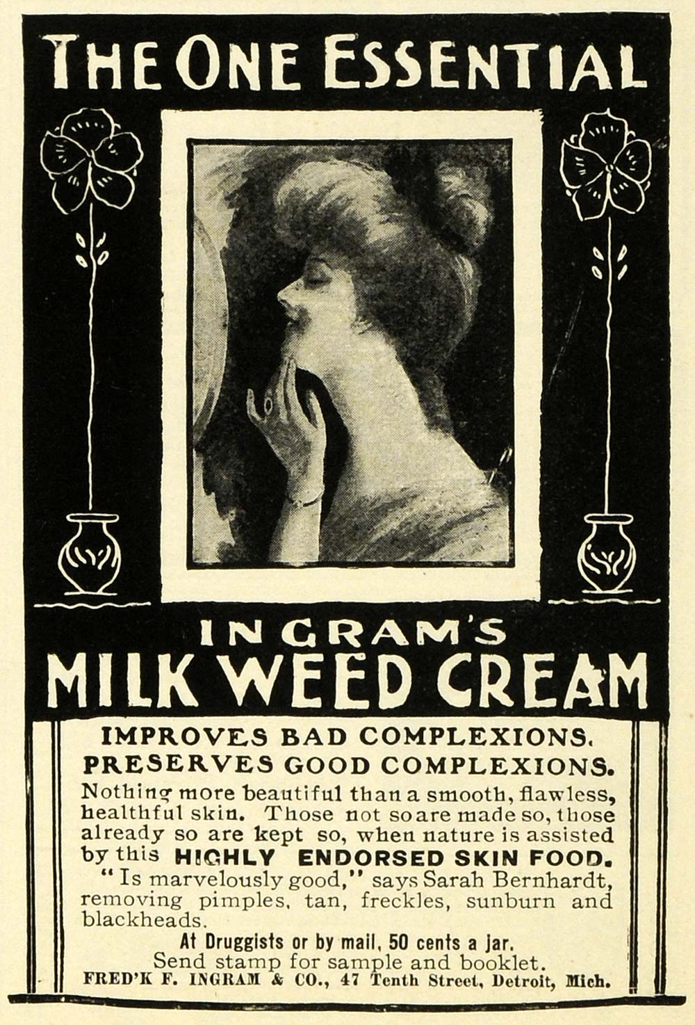 1902 Ad Frederick F Ingram Milkweed Cream Skin Care Beauty Product Essential EM2