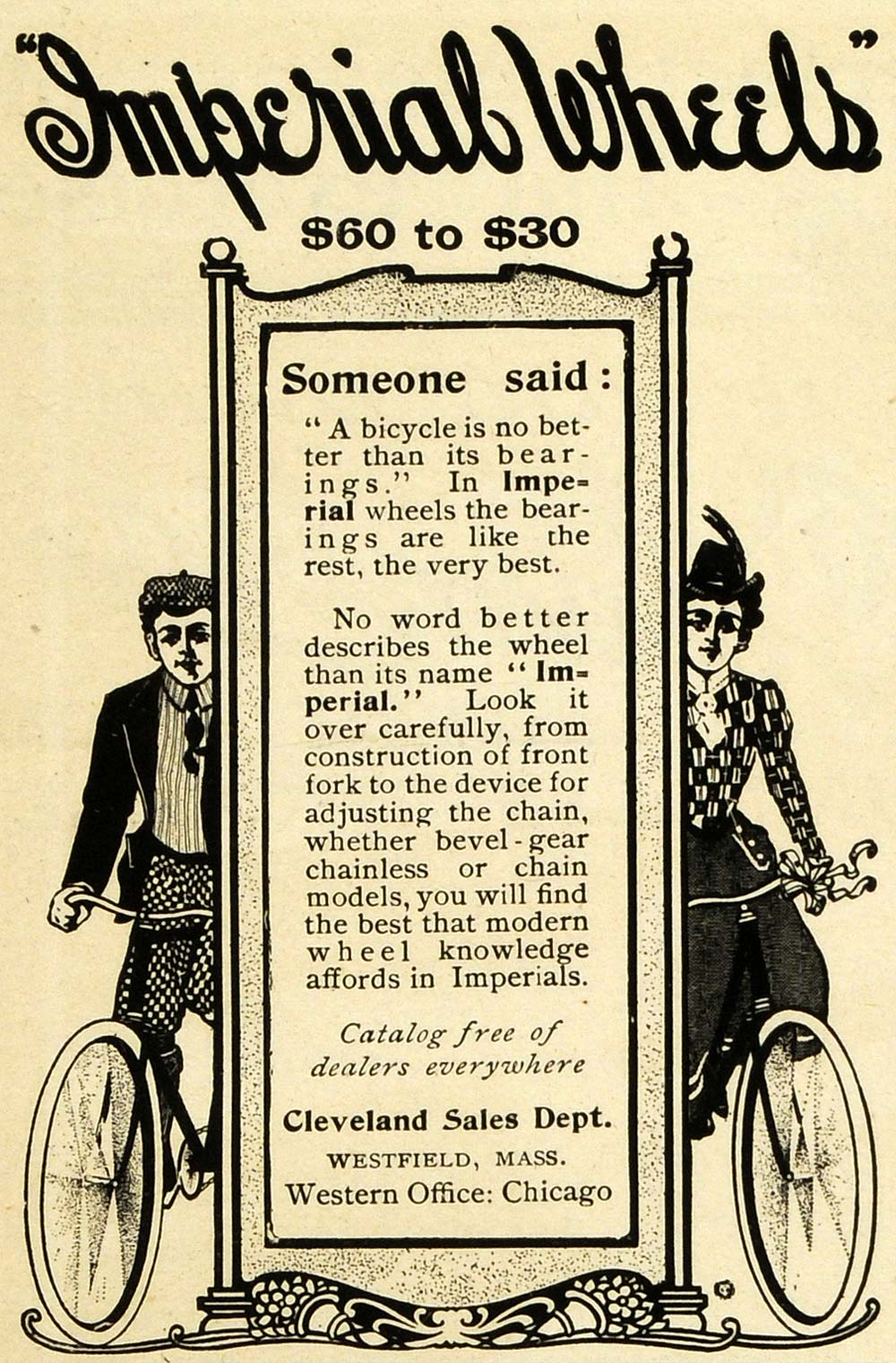 1901 Ad Imperial Wheels Cleveland Bicycle Wheel Bearing Westfield EM2