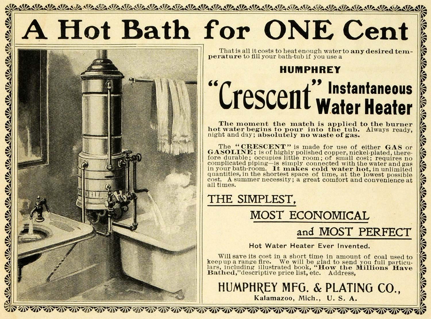 1901 Ad Humphrey Crescent Instantaneous Water Heater Tub Natural Gas EM2