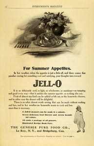 1909 Ad Genesee Pure Food Jello Mould Summer Dessert Sweets Gelatin Le Roy EM2