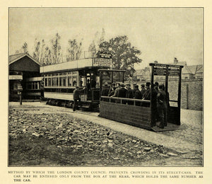 1906 Print London England County Council Passenger Trolley Train Crowding EM2