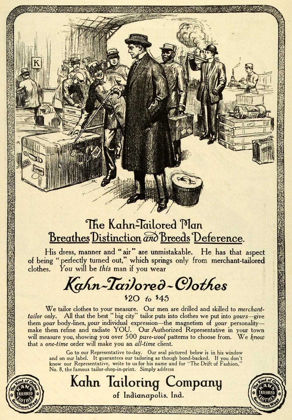 1911 Ad Kahn Tailoring Clothing Tailor Pricing Shipping Trunk Bellboy EM2