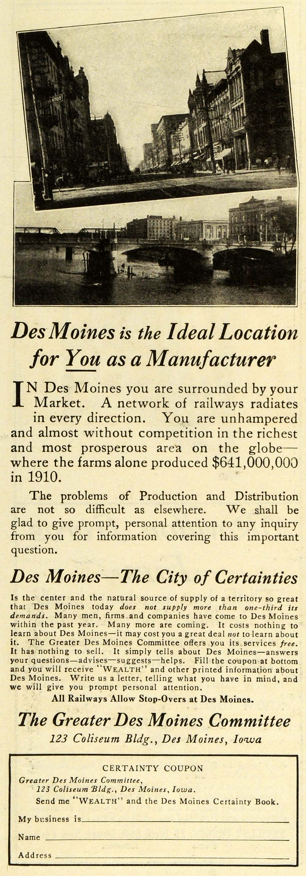 1911 Ad Des Moines Iowa Manufacturer Production Market Real Estate Realty EM2