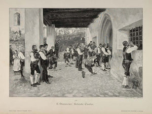 1895 Betende Tiroler Praying Tyrol Men Dammeier Print - ORIGINAL