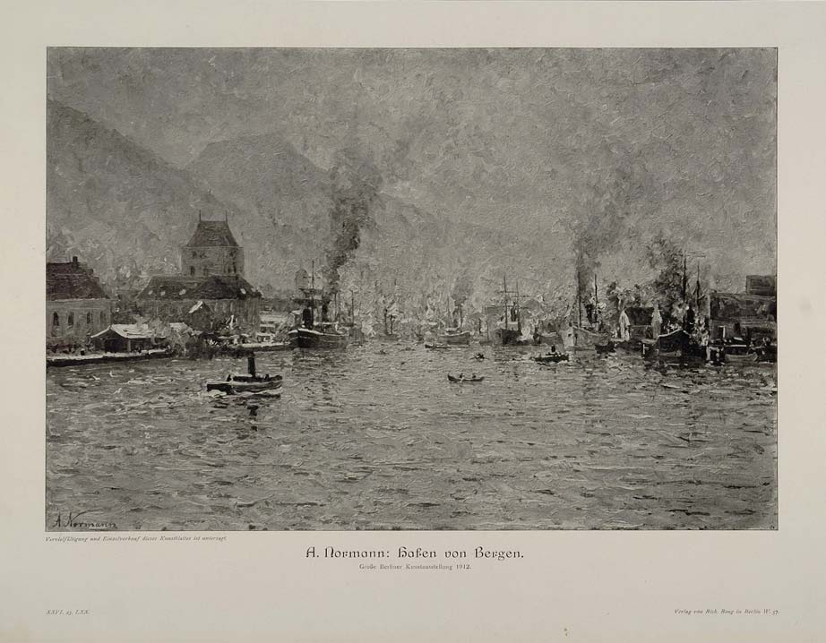1912 Port Harbor Bergen Ships A. Normann Engraving - ORIGINAL