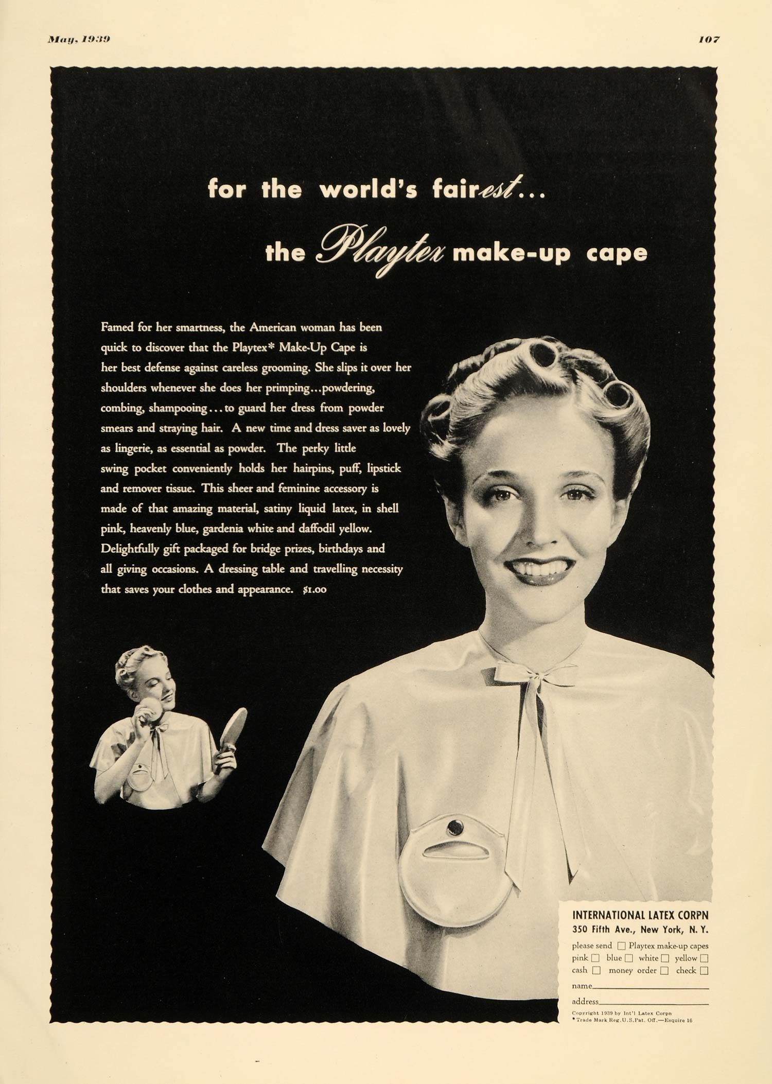 1939 Ad Playtex Make-up Cape Pricing Latex Corporation - ORIGINAL EQ1