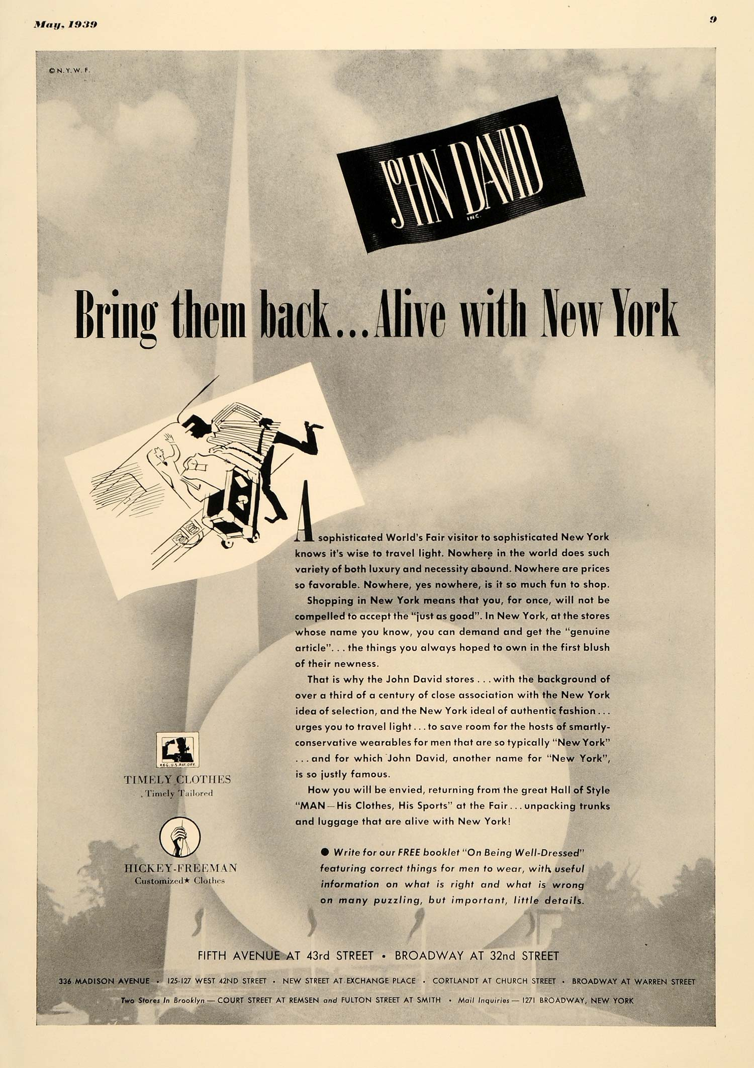 1939 Ad John David Clothing New York Hickey-Freeman - ORIGINAL ADVERTISING EQ1