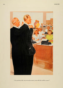 1939 Cartoon E. Simms Campbell Dad Passing Company Son - ORIGINAL EQ1