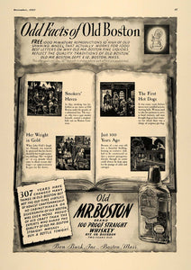 1937 Ad Old Mr. Boston Ben Burk Whiskey Hot Dogs Hannah - ORIGINAL ESQ1