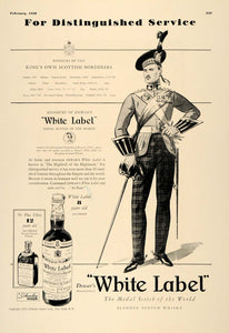 1938 Ad Dewar White Label Scotch Schnley Scotsman Award - ORIGINAL ESQ1