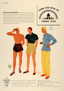 1938 Ad Crown Spun Rayon Kenya Cloth Men's Sportswear - ORIGINAL ESQ1