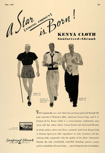1938 Ad Sanforized Shrunk Puritan Menswear Kenya Cloth - ORIGINAL ESQ1