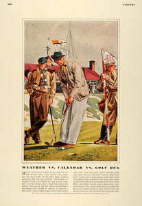 1938 Print Vintage Golf Course Fashion Shetland Pants ORIGINAL HISTORIC ESQ1