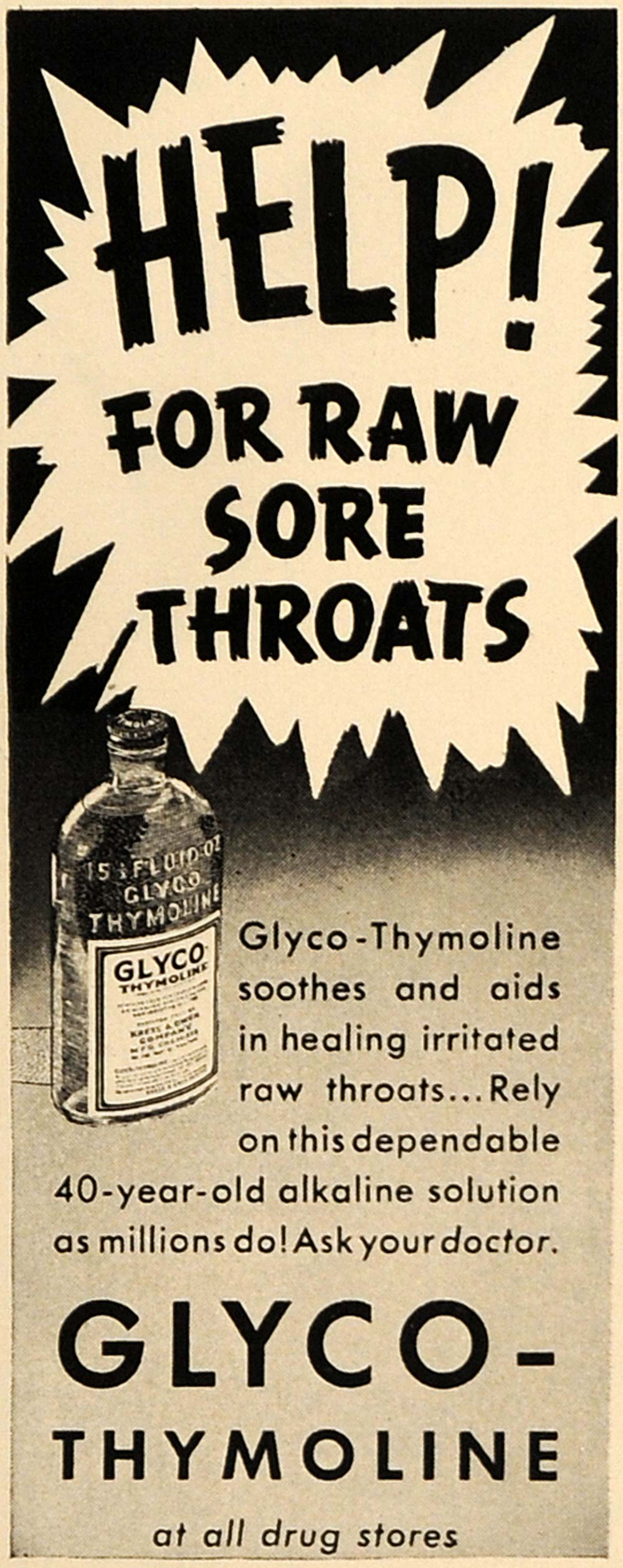 1938 Ad Glyco-Thymoline Sore Throats Relievers Remedy - ORIGINAL ESQ1