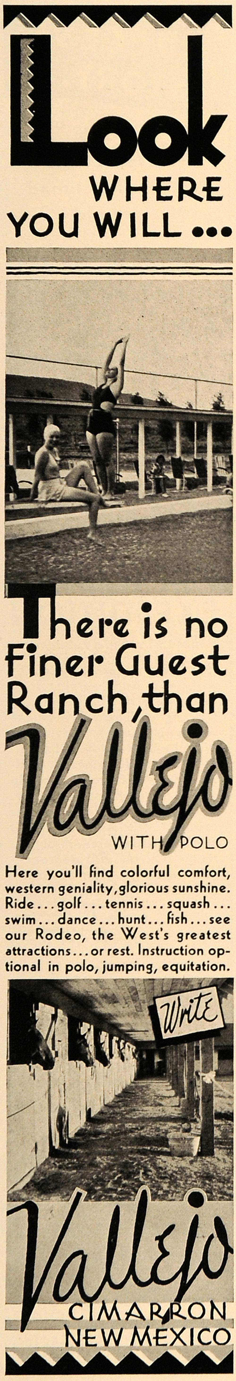 1938 Ad Vallejo Ranch Resort Rodeo Polo Swimming NM - ORIGINAL ADVERTISING ESQ1