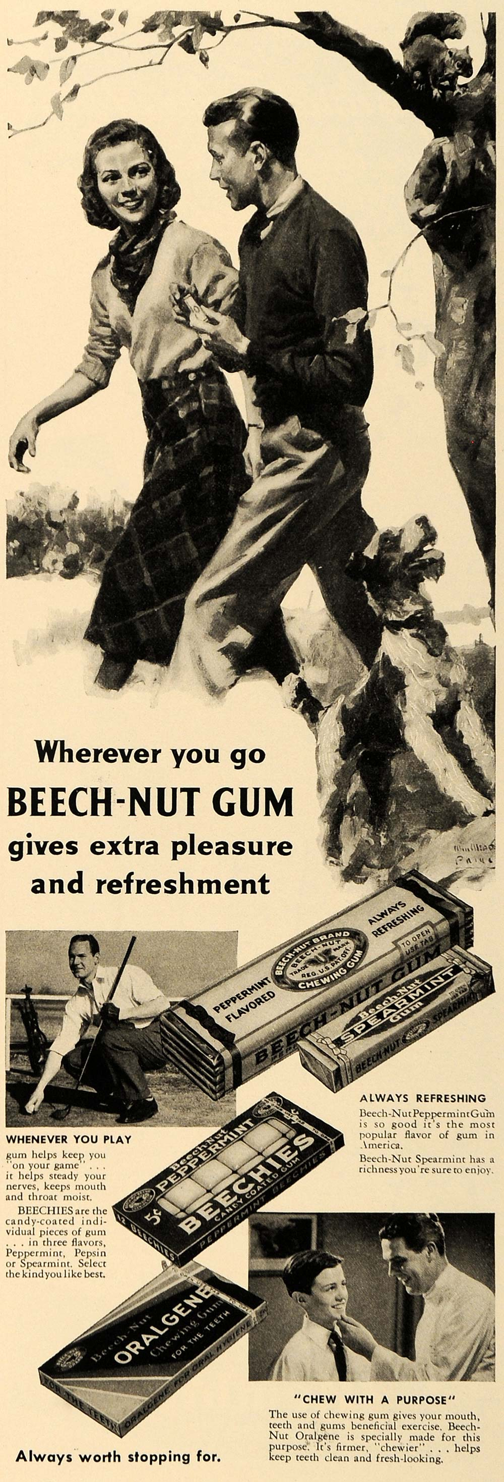1938 Ad Beech-Nut Spearmint Chewing Gum Oralgene Golf - ORIGINAL ESQ1