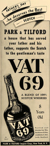 1938 Ad Park & Tilford Import Corp Vat 69 Scotch Whisky - ORIGINAL ESQ1