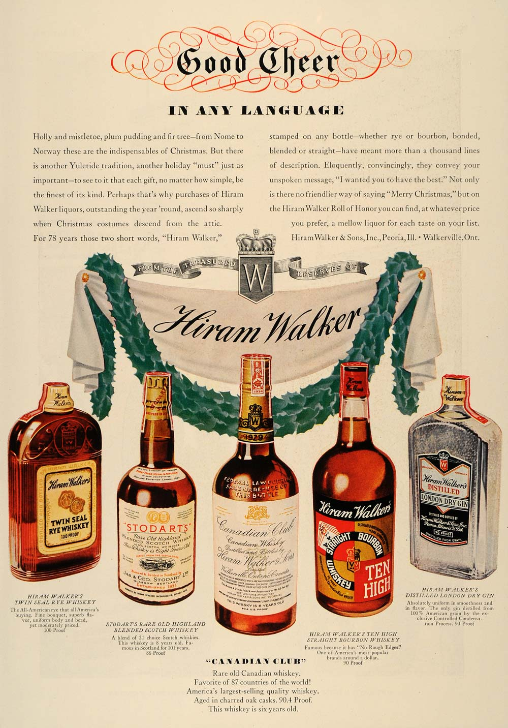 1937 Ad Hiram Walker Rye Whiskey Scotch Bourbon Dry Gin - ORIGINAL ESQ1