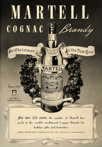 1937 Ad Cognac Brandy Martell France Christmas Tilford - ORIGINAL ESQ1