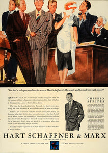 1936 Ad Hart Schaffner Cheerio Stripes College Suit Men - ORIGINAL ESQ1