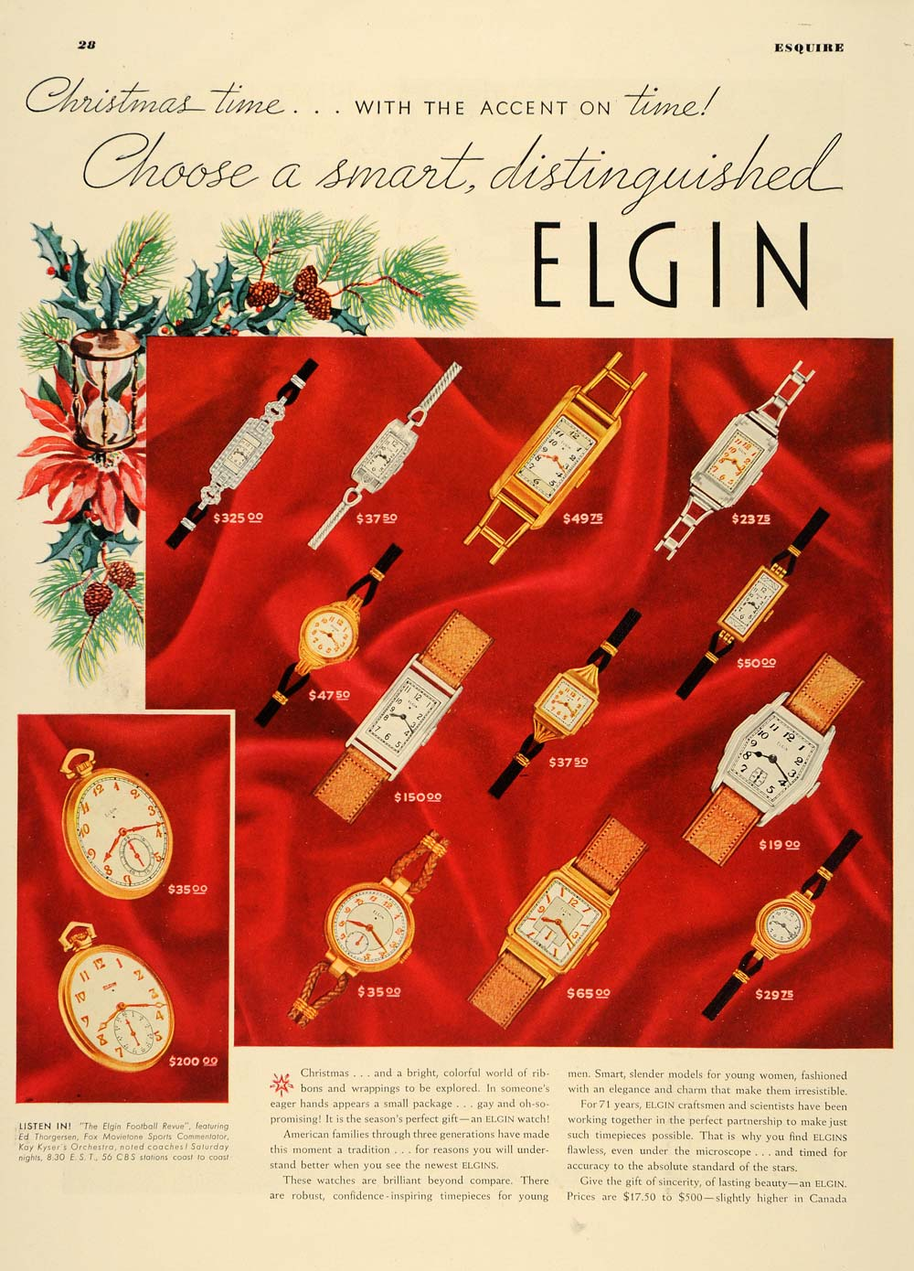1936 Ad Elgin Wristwatches Christmas Gifts Accessories - ORIGINAL ESQ1