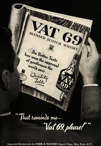 1937 Ad Park Tilford Vat 69 Scotch Whisky Magazine Page - ORIGINAL ESQ1